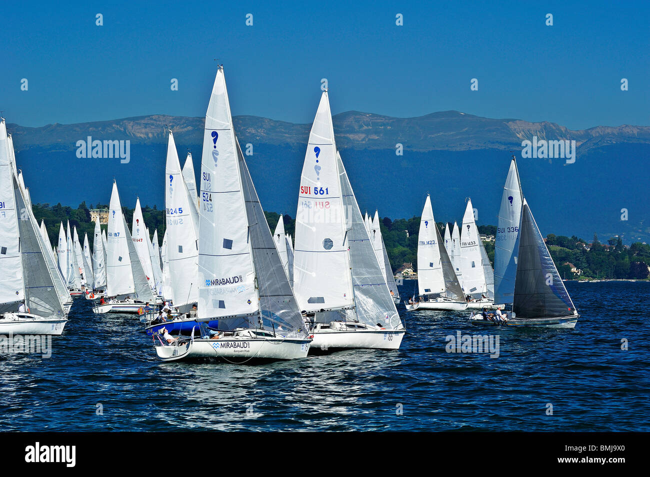 Start of the 2009 Bol d'Or yacht race on Lac Leman (Lake Geneva) with the Jura Mountains in the background. Stock Photo