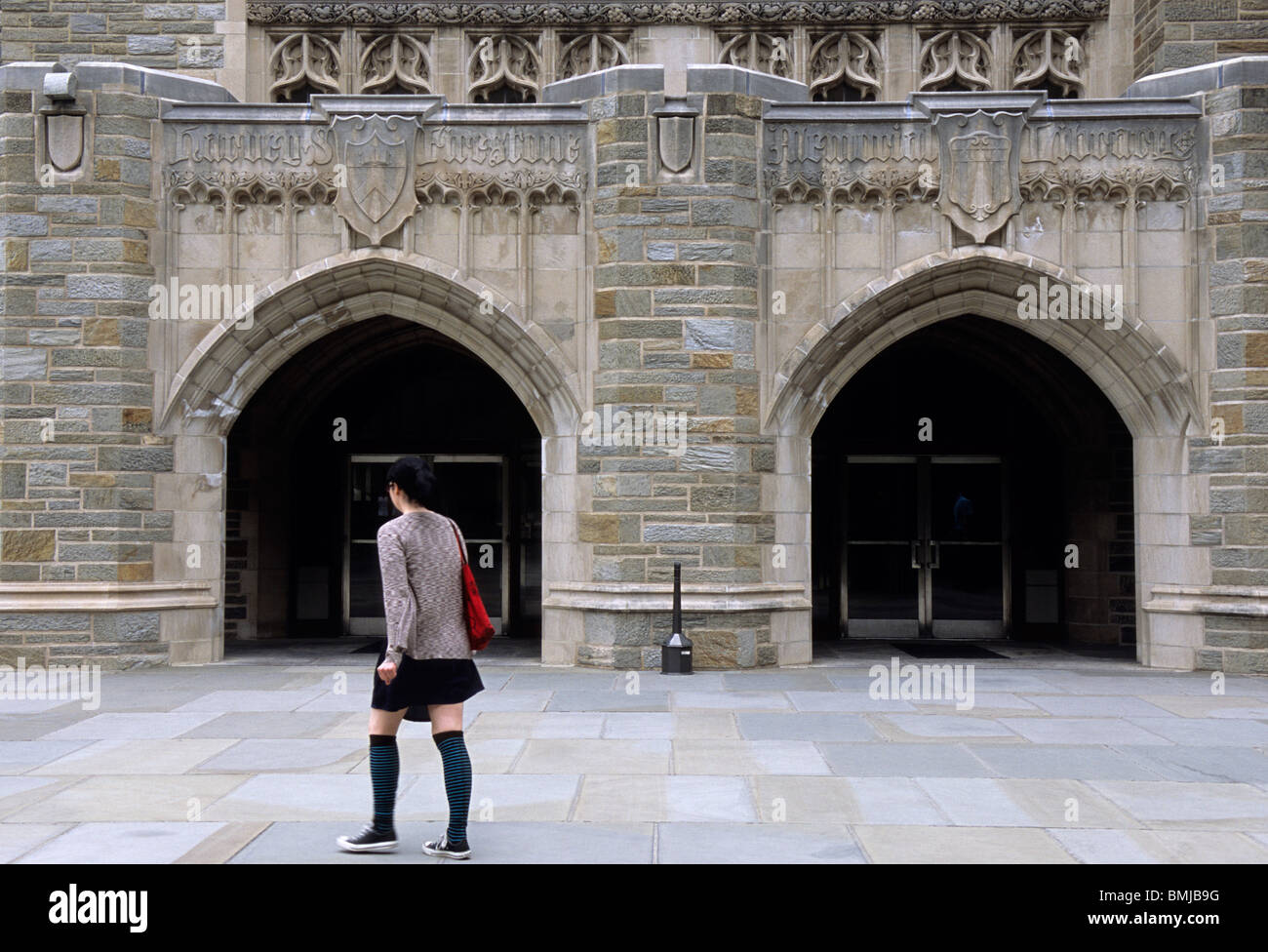 Princeton University Firestone Library Student Walking on Campus Princeton New Jersey USA - Stock Image