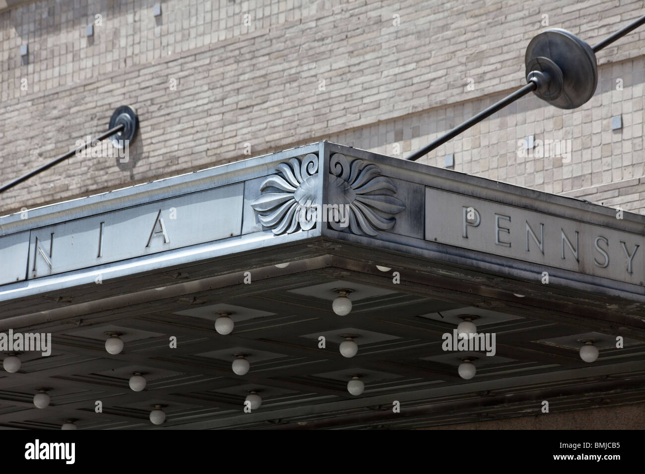 detail of awning of Pennsylvania Station in Newark, New Jersey (also known as Newark Penn Station) - Stock Image
