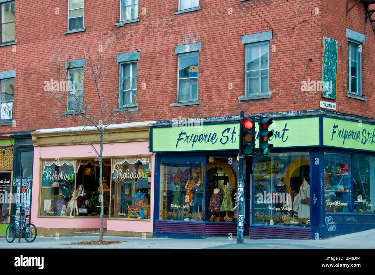 Boutiques Boulevard Saint laurent Montreal Canada - Stock Image