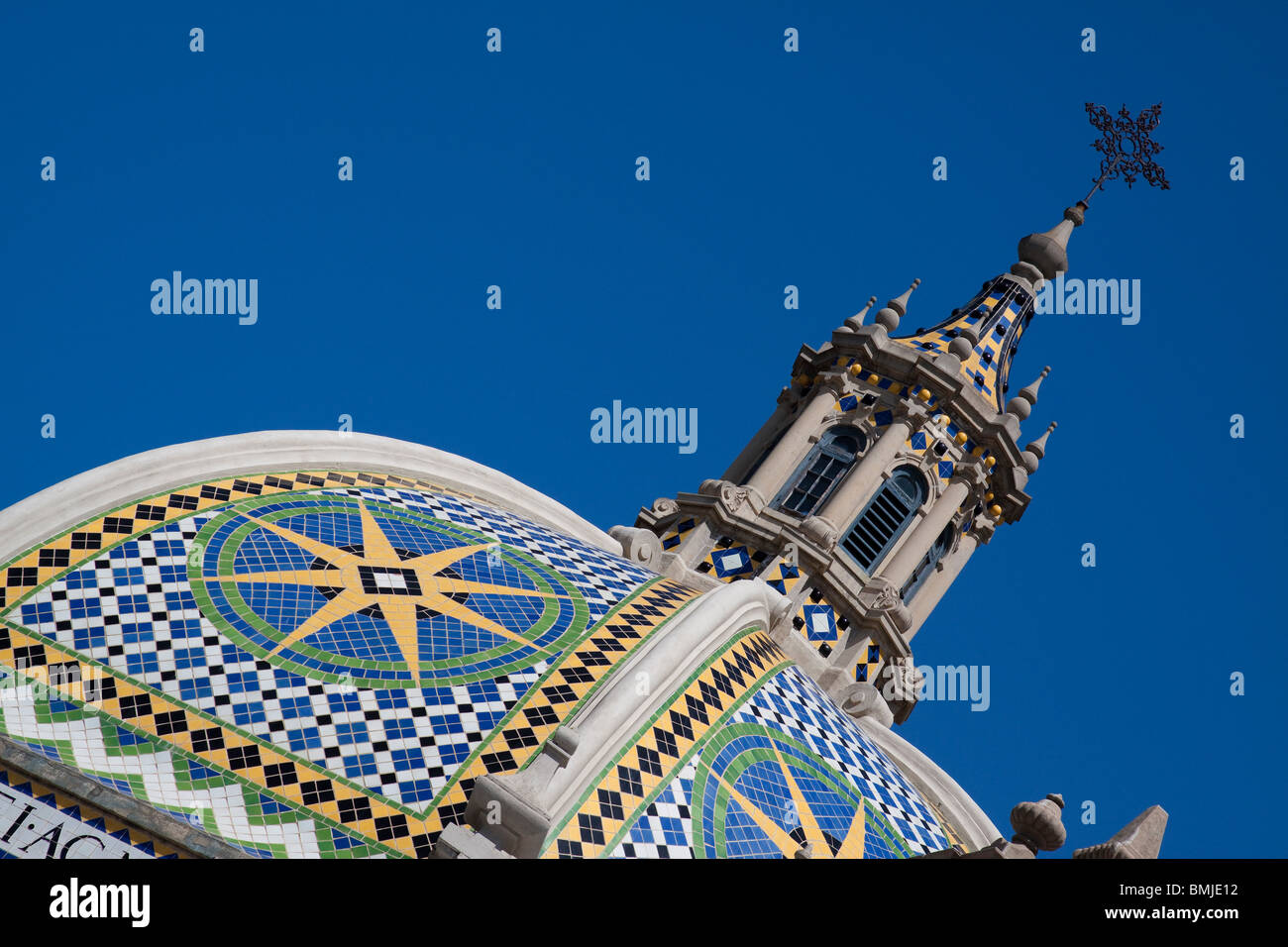 Moorish tiled dome and spire above Museum of Man in Balboa Park San Diego - Stock Image