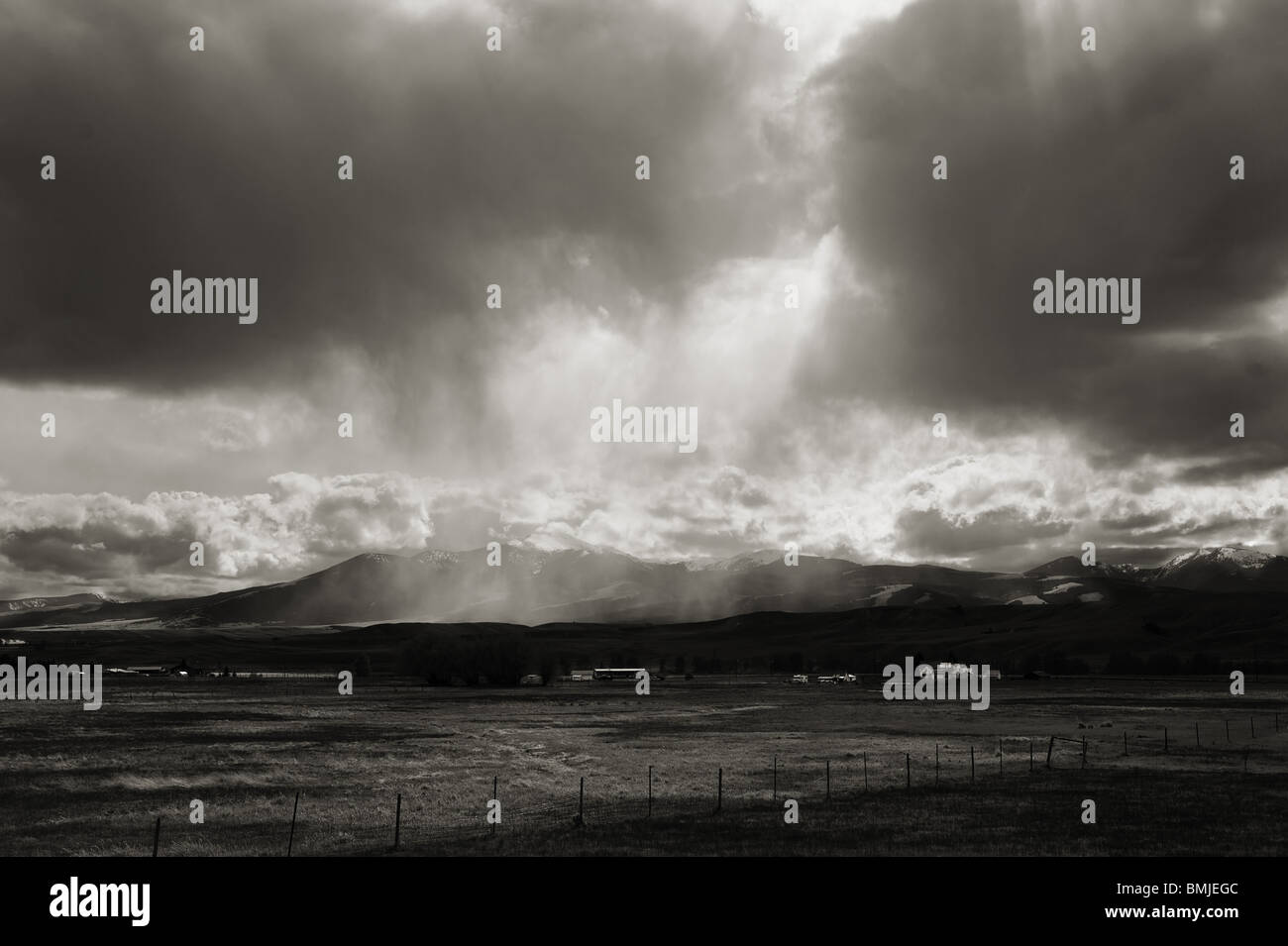 Thunder storm over the Rocky Mountains. Butte Montana, USA  BW scenic. - Stock Image