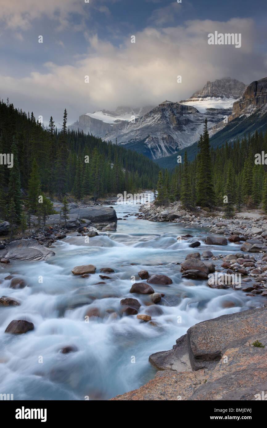 Mistaya Canyon at dawn, nr Saskatchewan Crossing, Banff National Park, Alberta, Canada - Stock Image