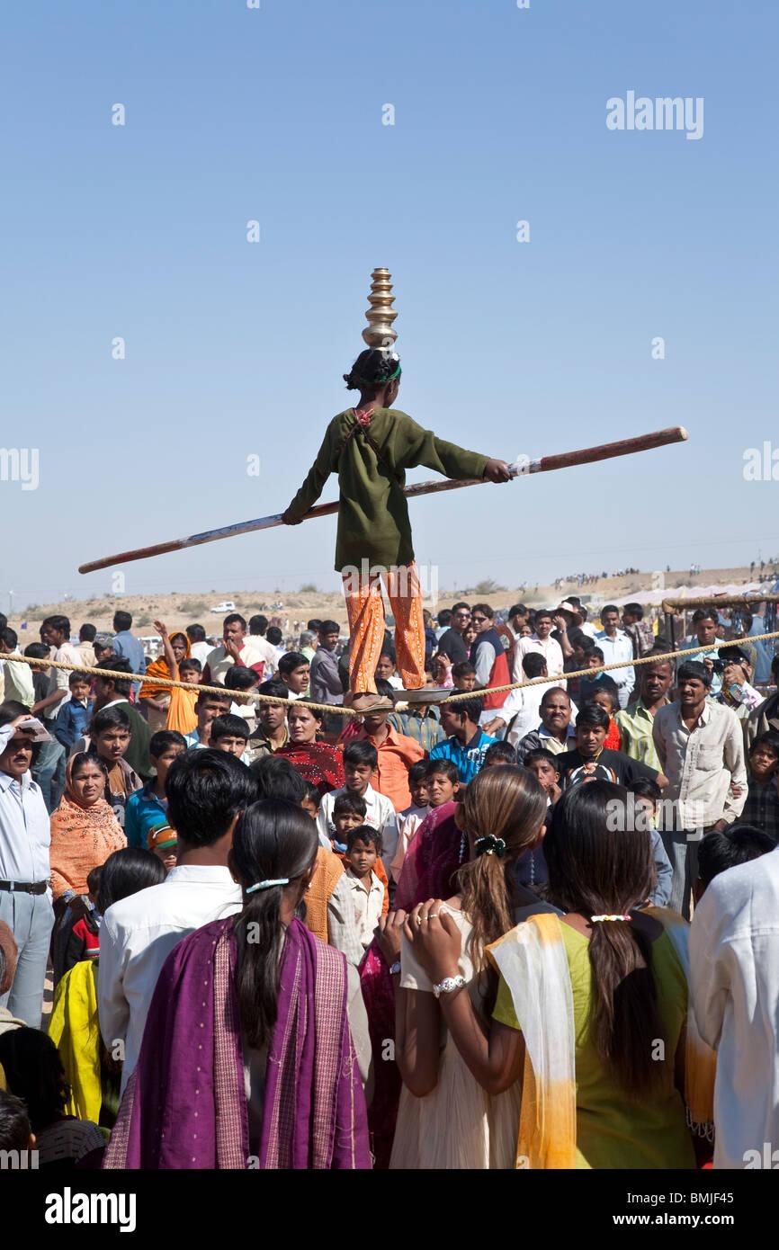 Tightrope walker. Jaisalmer. Rajasthan. India - Stock Image