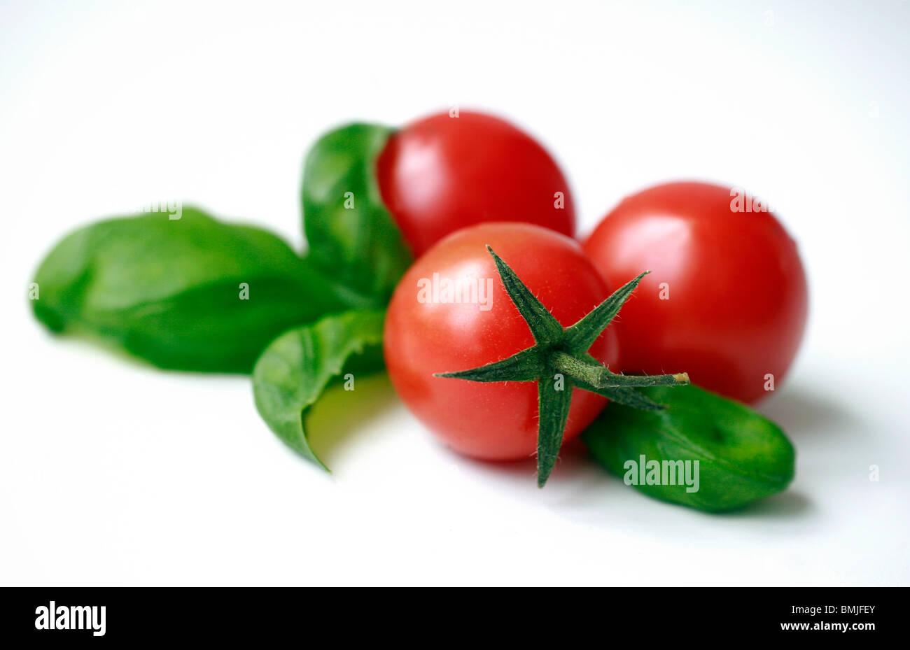 Tomatoe and basil - Stock Image