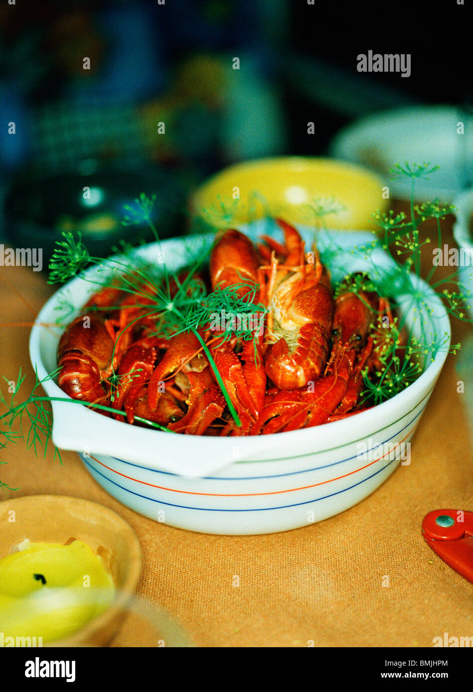 Crayfish in a bowl, Sweden. - Stock Image
