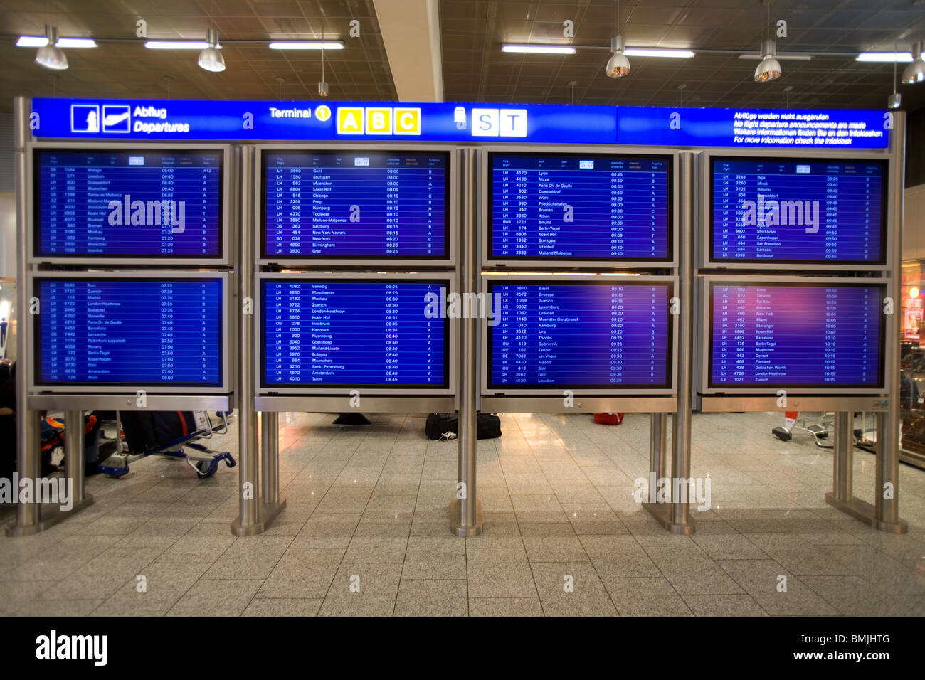 View of departure board on airport Stock Photo