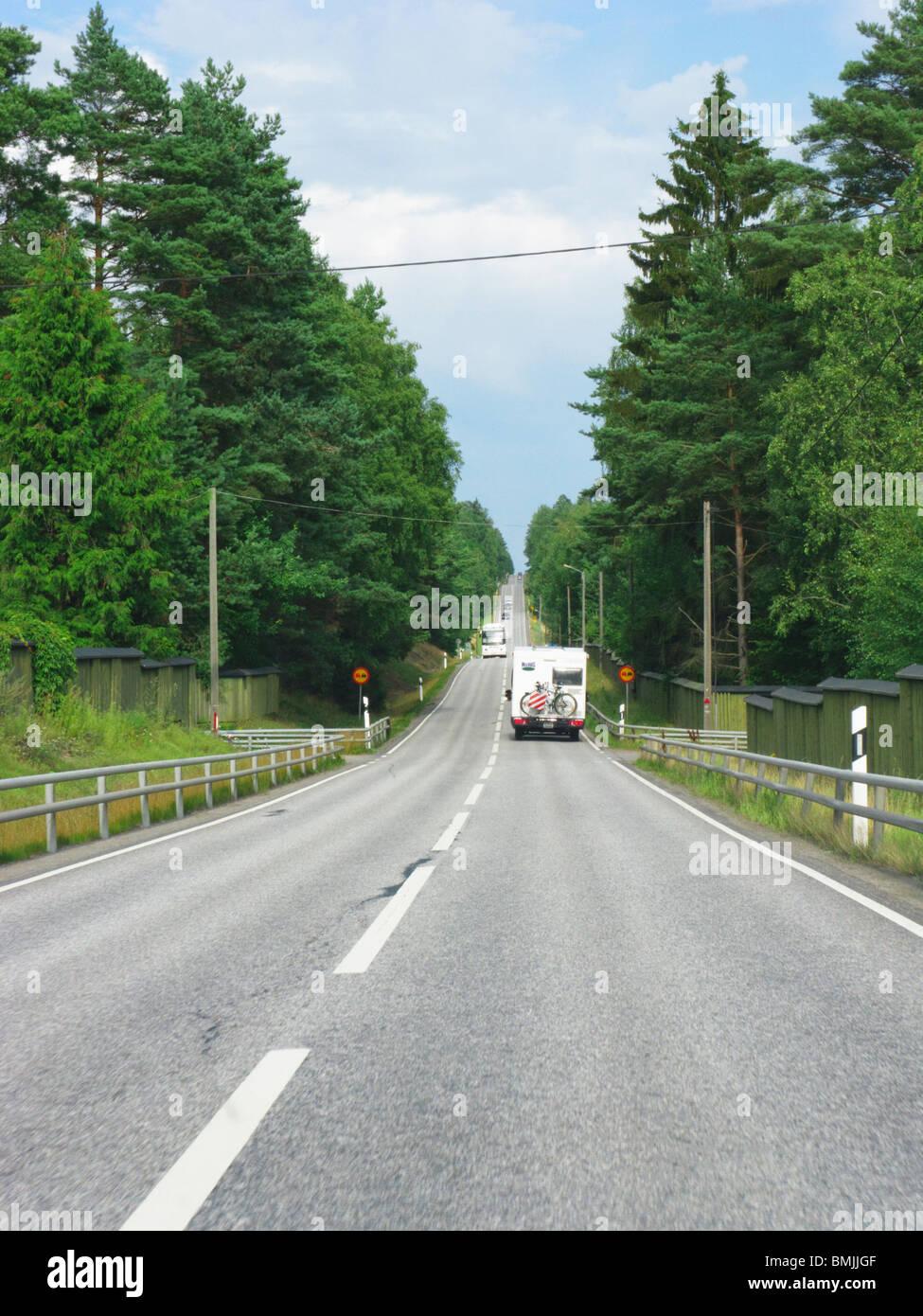 Scandinavia, Sweden, Sodermanland, Trailer on road - Stock Image