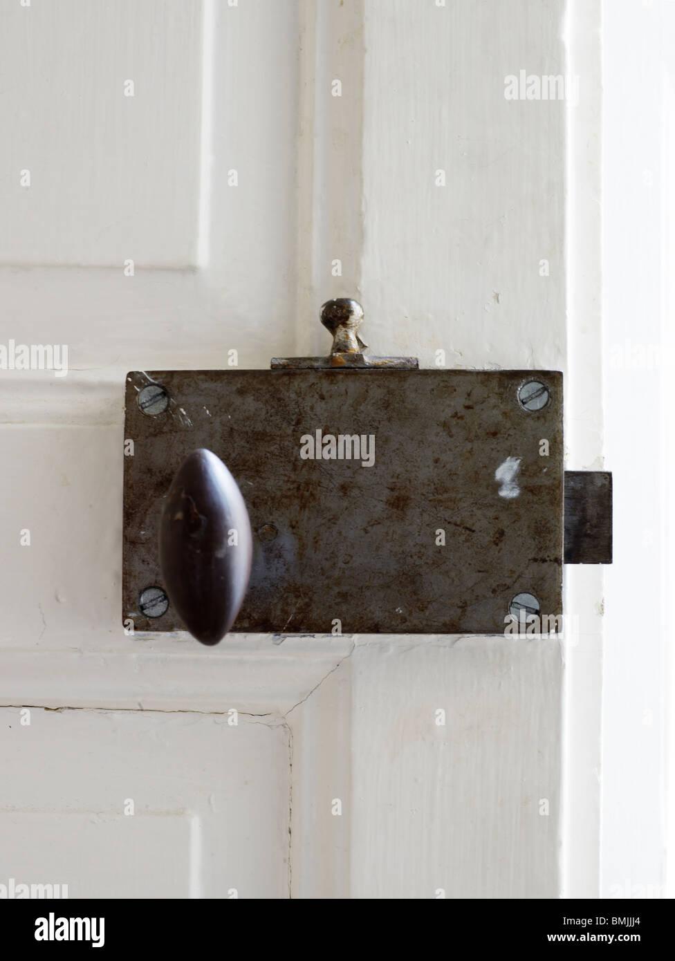 Scandinavia, Sweden, Stockholm, Door lock, close-up - Stock Image