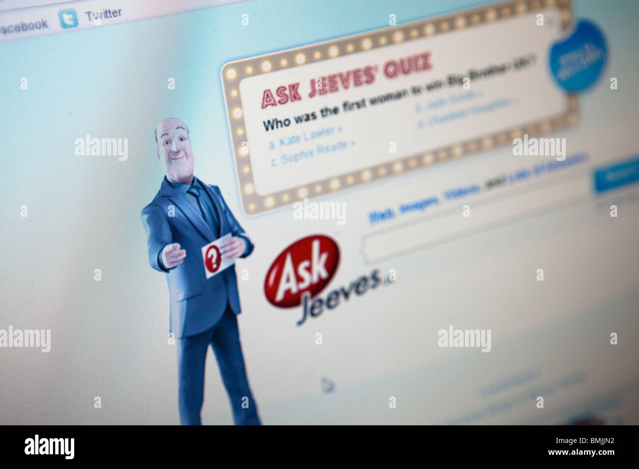 Close up of a computer monitor / screen showing the Ask Jeeves search engine website - Stock Image
