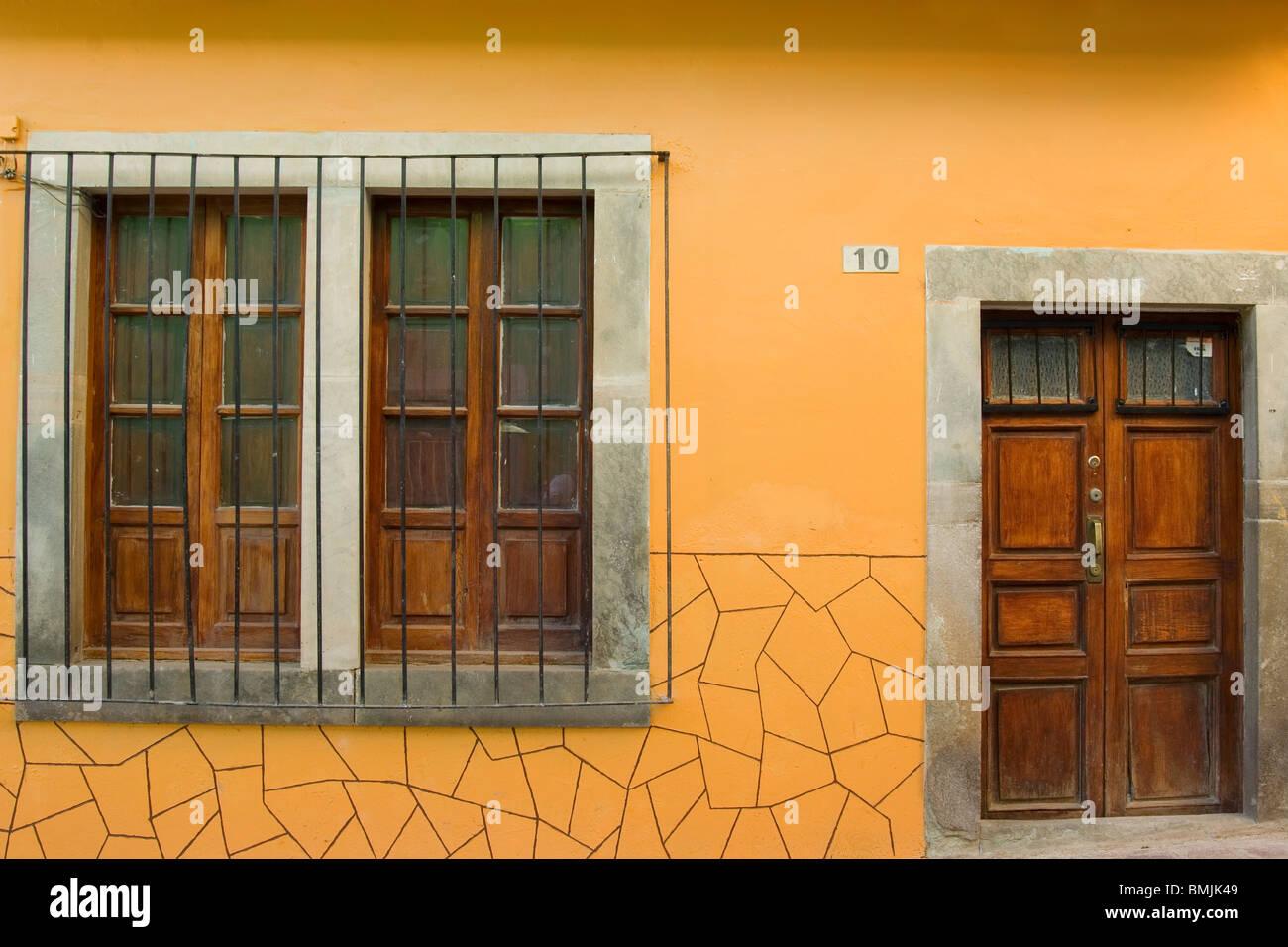 Historic town of Guanajuato, Doors and windows, Province of Guanajuato, Mexico Stock Photo