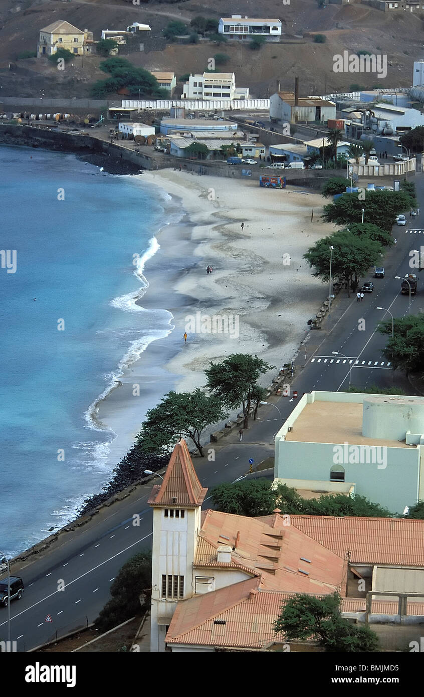 View of Mindelo beach from Fortim d'el-Rei, Sao Vicente, Cape Verde Islands Stock Photo