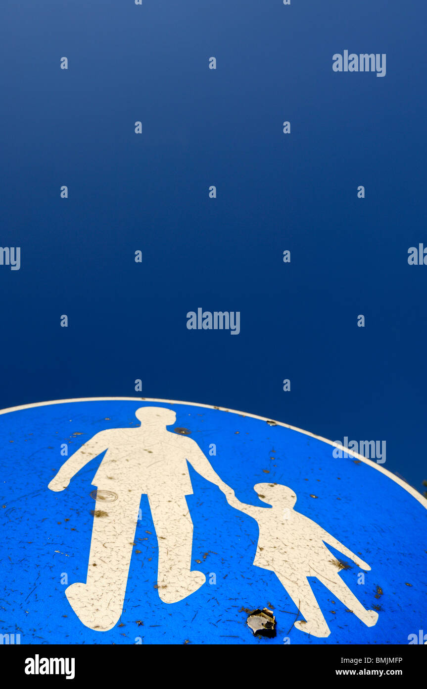 Pedestrian crossing sign, close-up - Stock Image