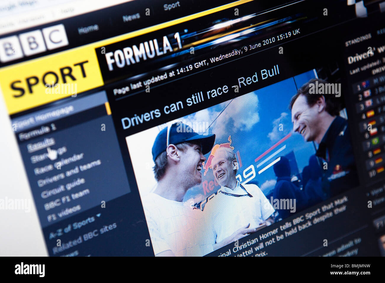 Close up of a computer monitor / screen showing the BBC Sport Formula One website - Stock Image
