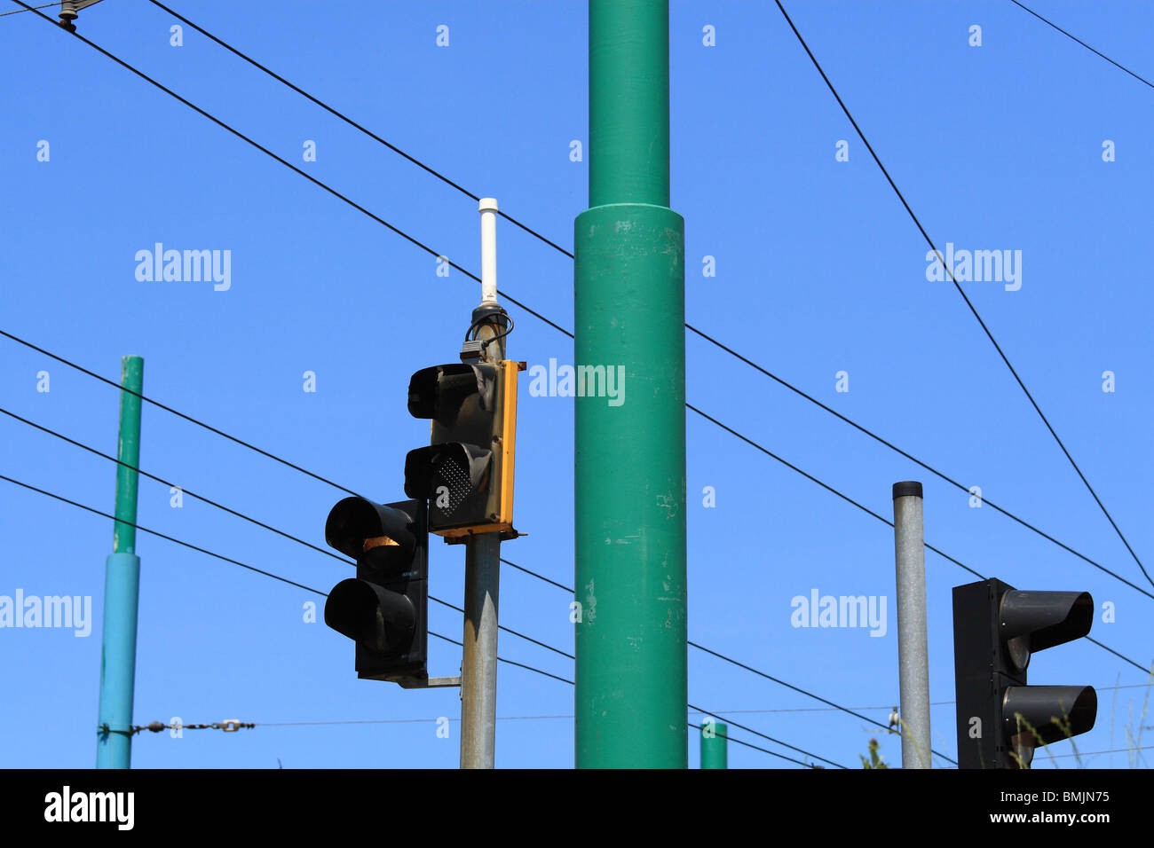 Tram Wire Stock Photos Images Alamy Traffic Light Wiring Lights And Wires Against Blue Sky Katowice Poland Image