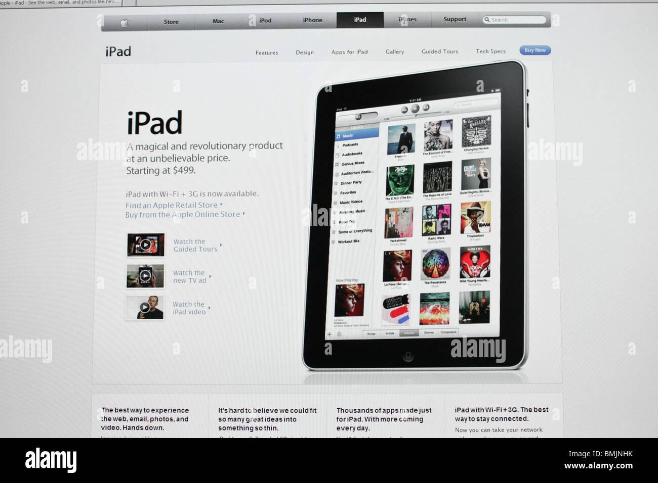 ipad apple online website screenshot - Stock Image