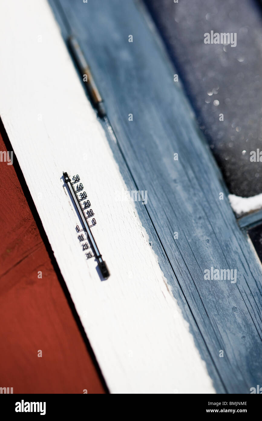 Scandinavian Peninsula, Sweden, Skane, View of thermometer on window frame, close-up Stock Photo