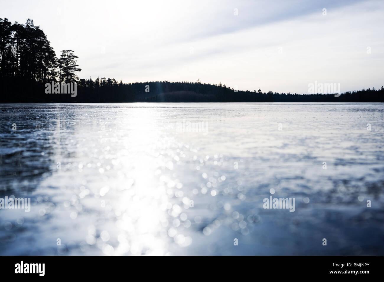 Scandinavian Peninsula, Sweden, Skane, View of frozen landscape - Stock Image