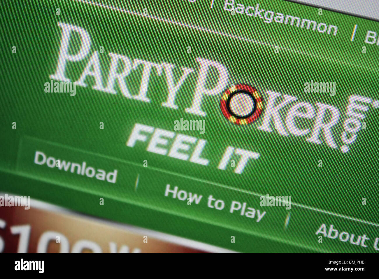 partypoker party poker online internet gamble - Stock Image