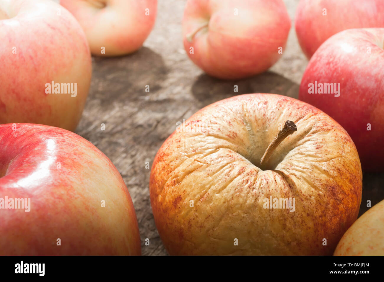 Apple with bad skin - Stock Image