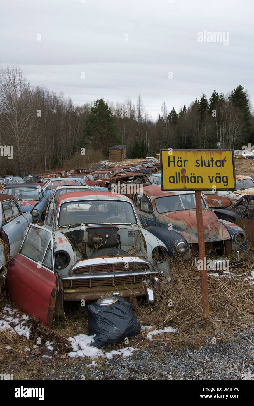 Scandinavia, Sweden, Varmland, View of abandoned car - Stock Image