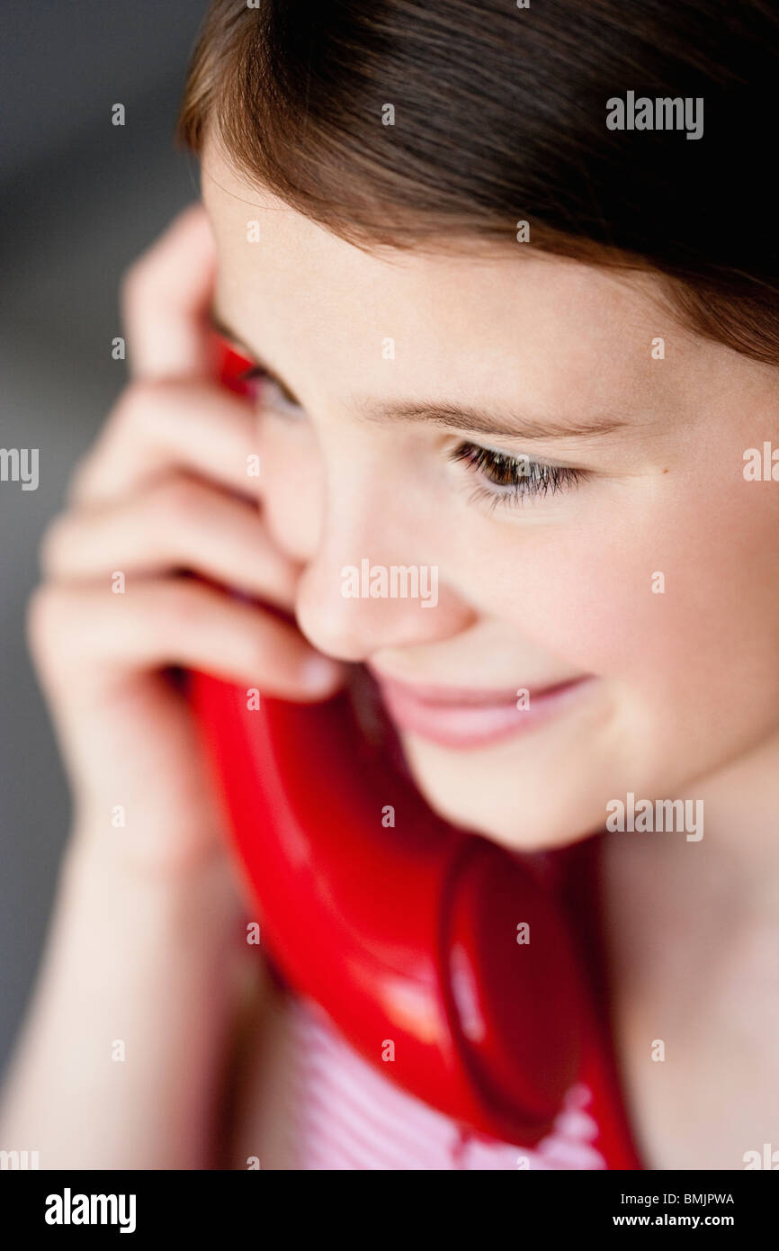 Girl phoning close-up - Stock Image