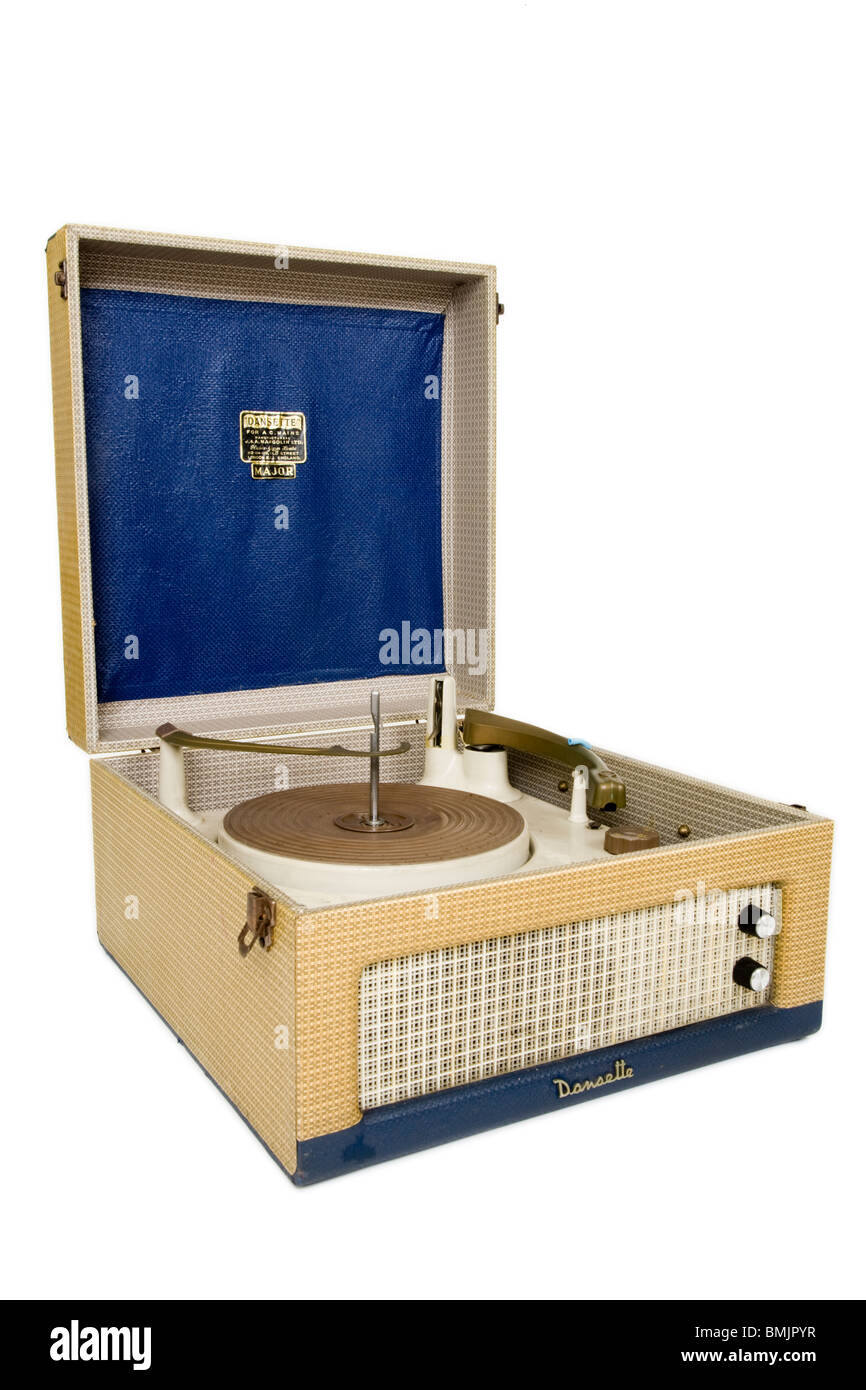 Dansette Major record player in blue and cream, from the 1950's and 1960's, as a cut out on white background. - Stock Image