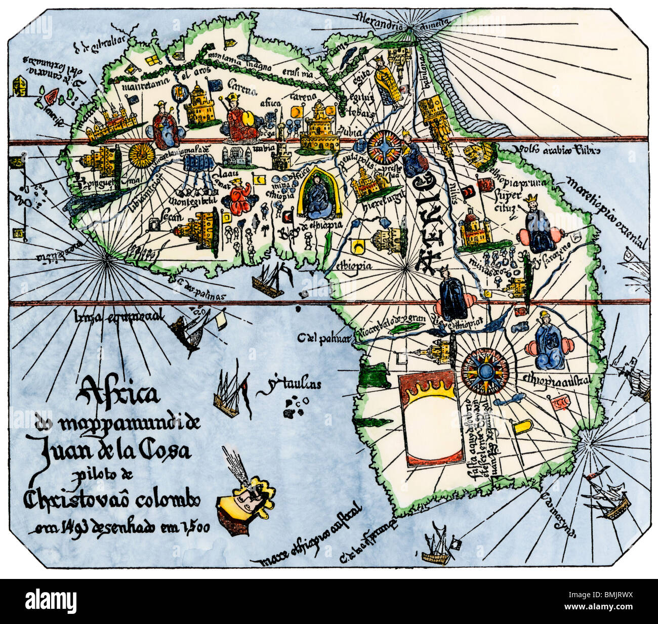 Africa map equator stock photos africa map equator stock images africa as known after vasco da gamas discoveries from map of juan de la cosa gumiabroncs Images