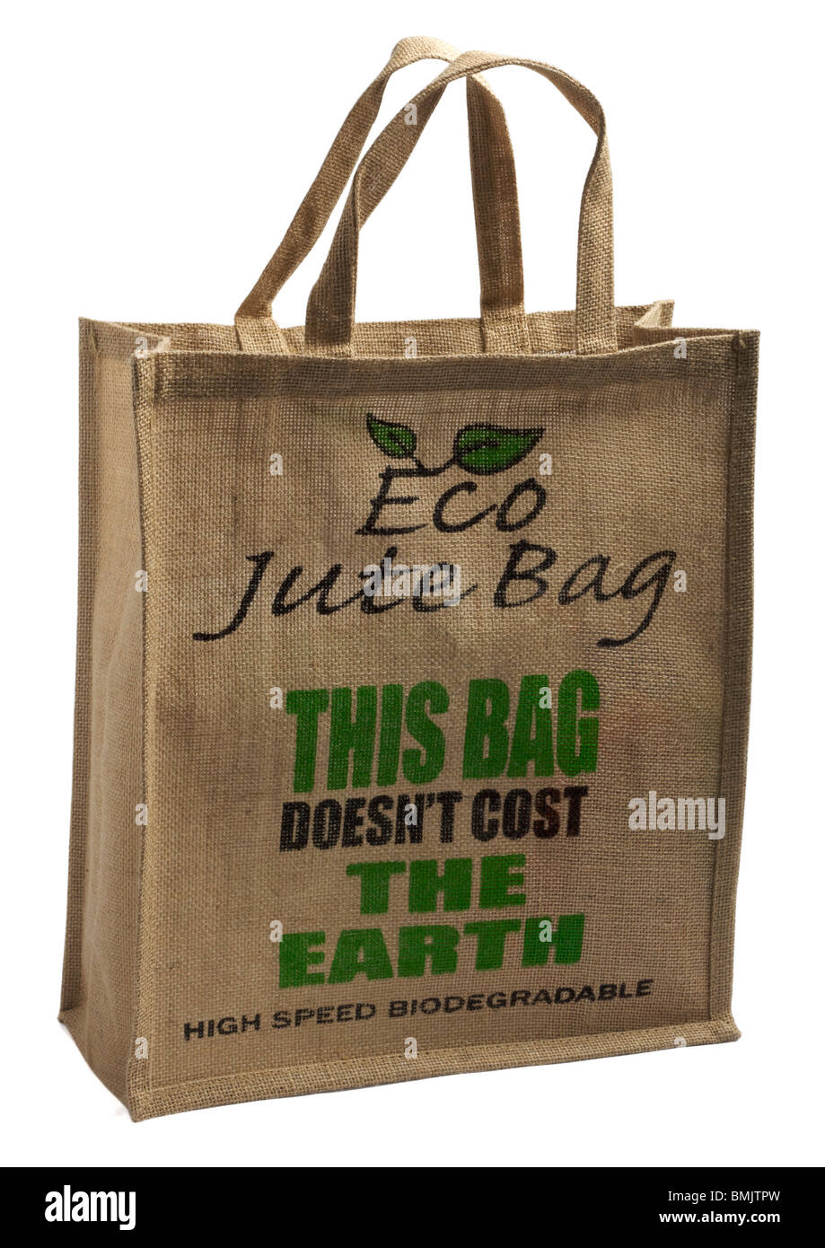 Jute recyclable reusable carrier bag on white background - Stock Image