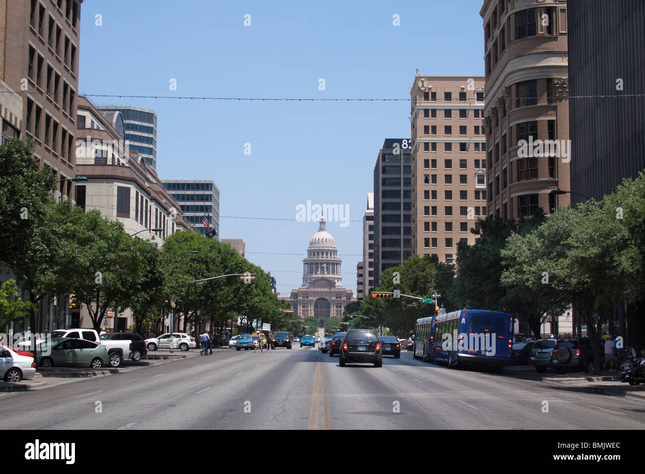Congress Avenue in downtown Austin leading to Texas state capitol building or statehouse - Stock Image
