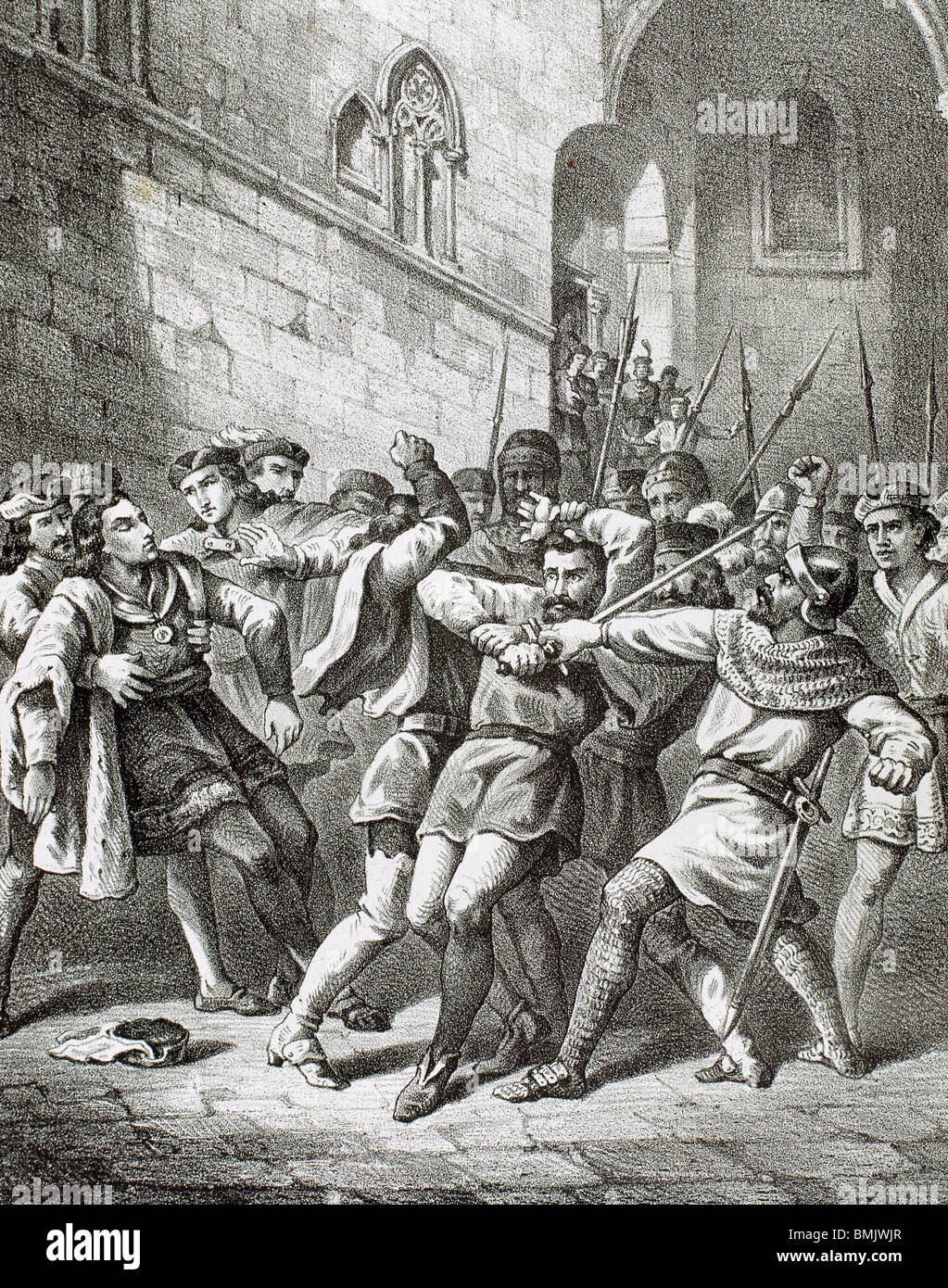 Attempted assassination of King Ferdinand II of Aragon in Barcelona on October 18, 1492 a remença vassal. Catalonia. Spain.