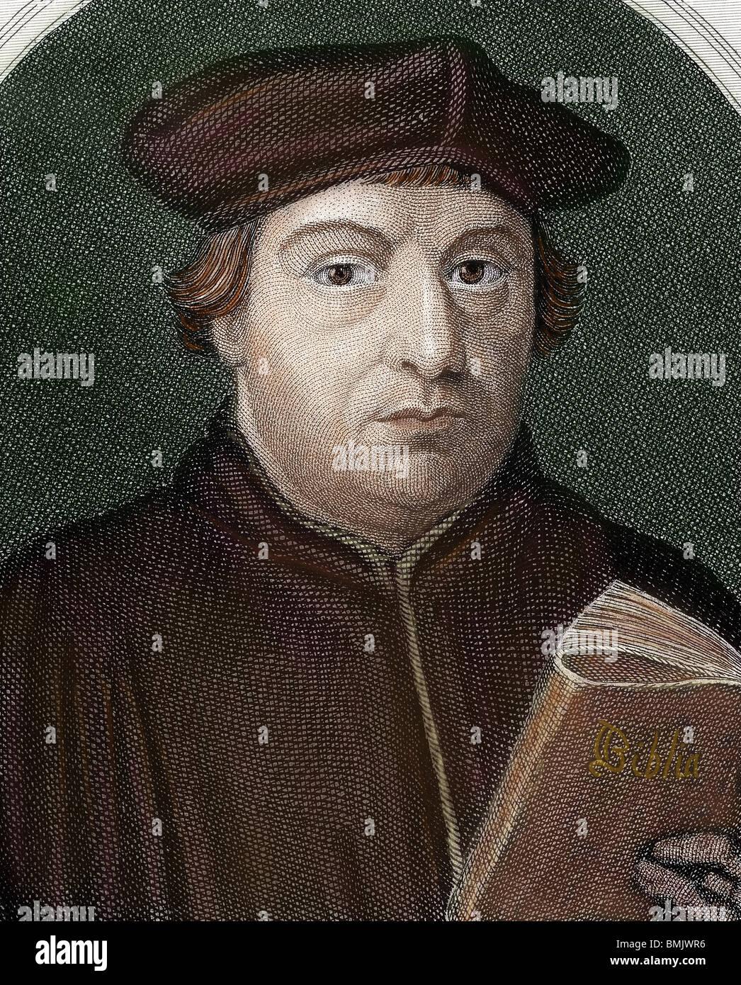 Martin Luther, (Eisleben, 1483, Eisleben, 1546). German reformer. Portrait. Stock Photo