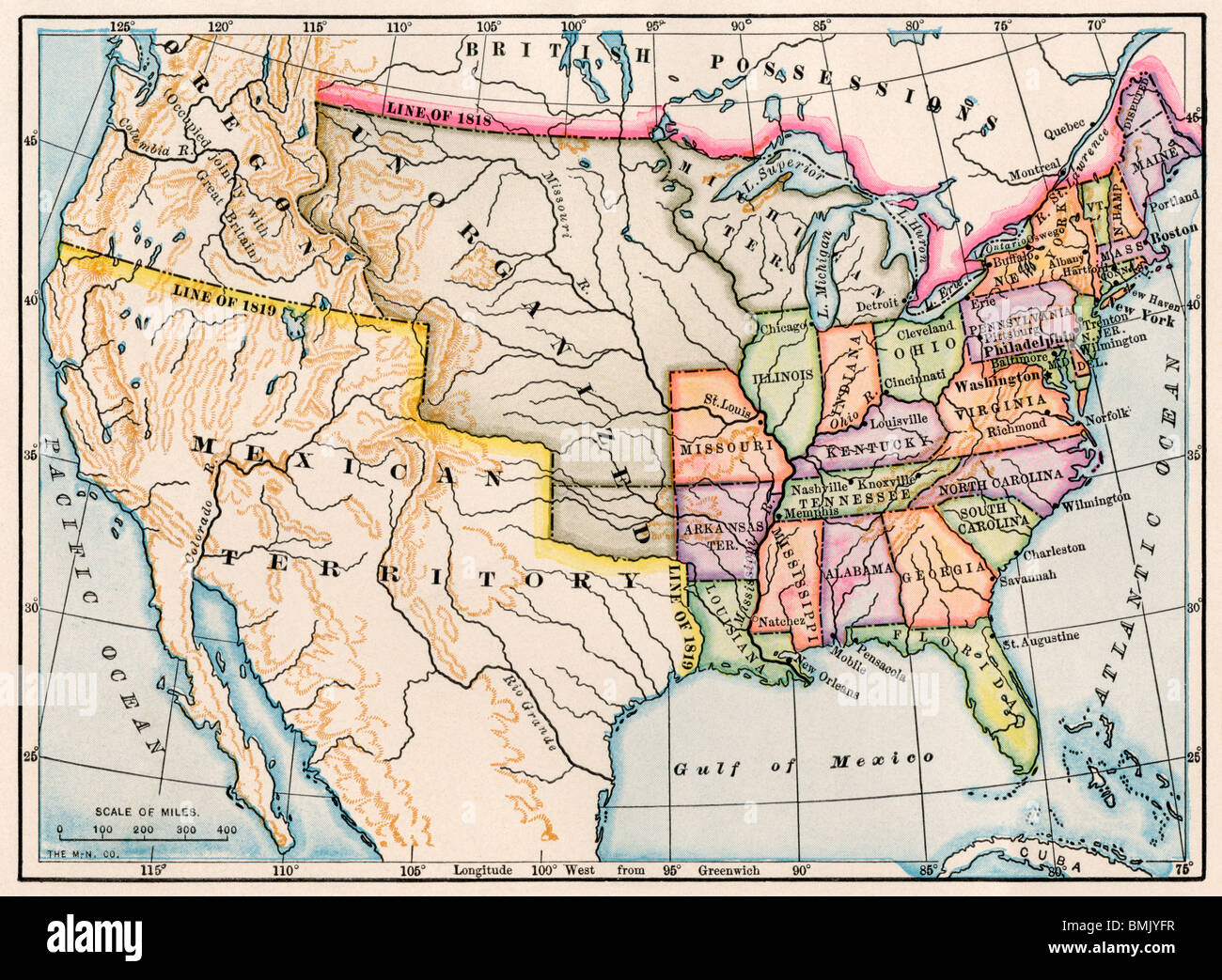Territories of the United States in 1830. Color lithograph - Stock Image