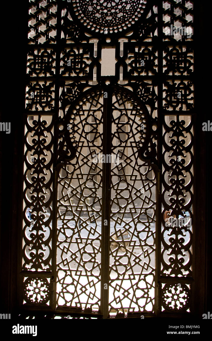 lattice window in al rifai mosque cairo al qahirah egypt stock