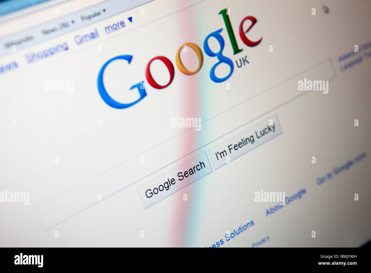 Close up of a computer monitor / screen showing the Google search engine website - Stock Image