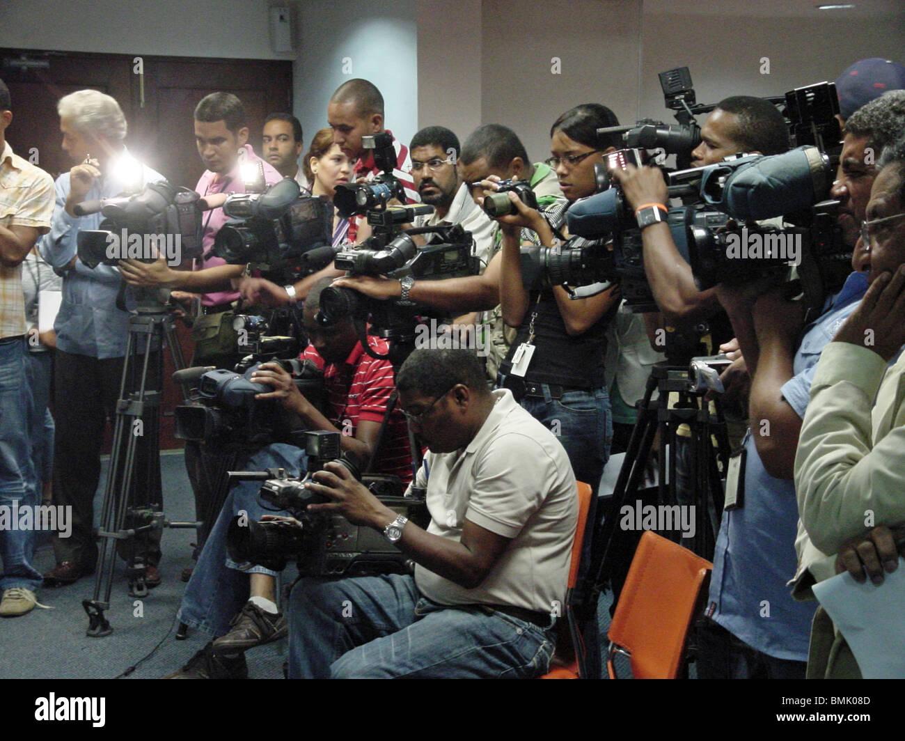 Dominican Republic press corps at a press conference, Santo Domingo, Dominican Republic - Stock Image
