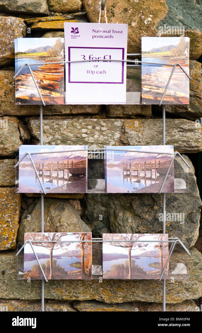 Postcards on a rack in the Lake District, Cumbria, England, UK - Stock Image
