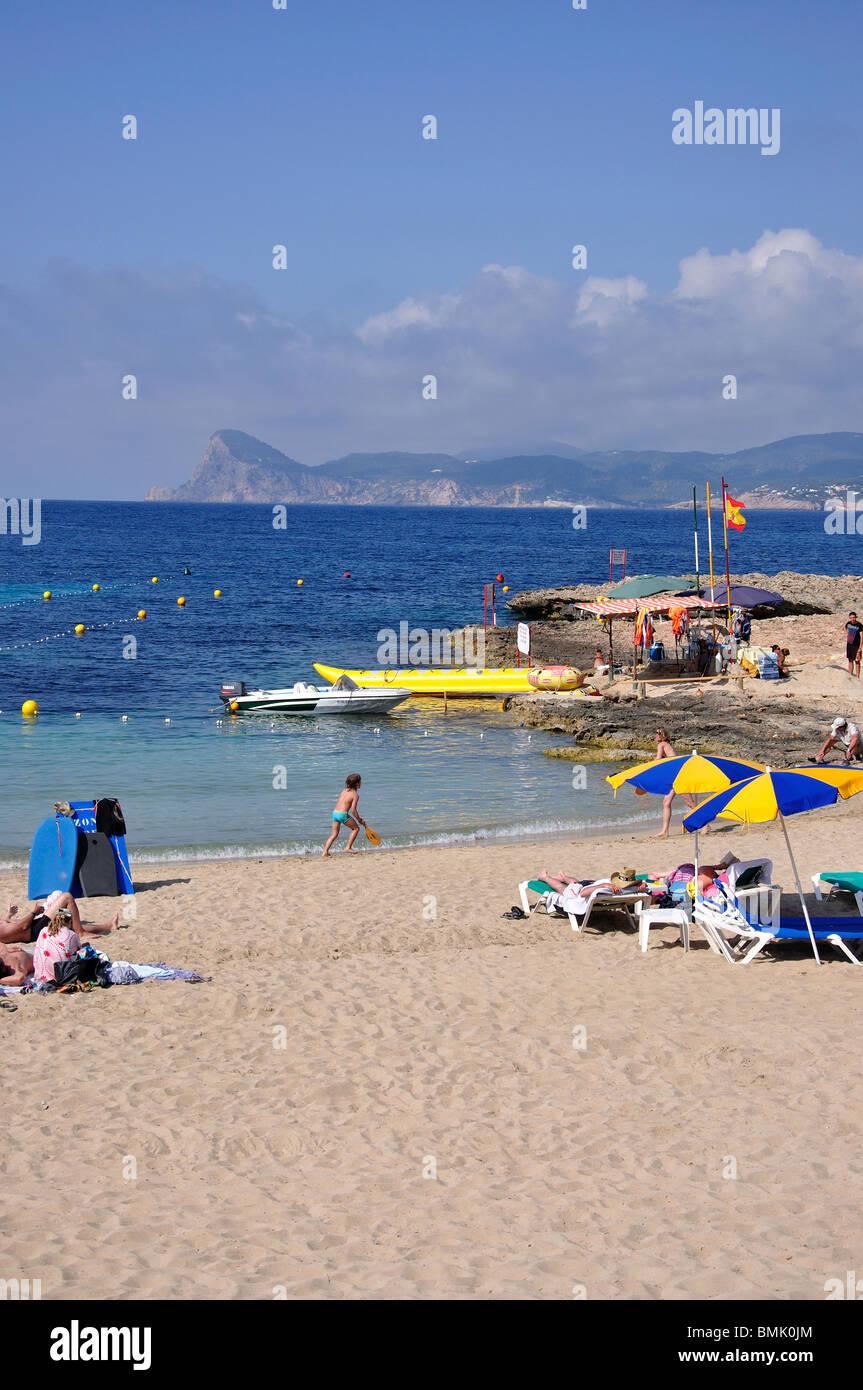 Beach view, Cala Bassa, Ibiza, Balearic Islands, Spain Stock