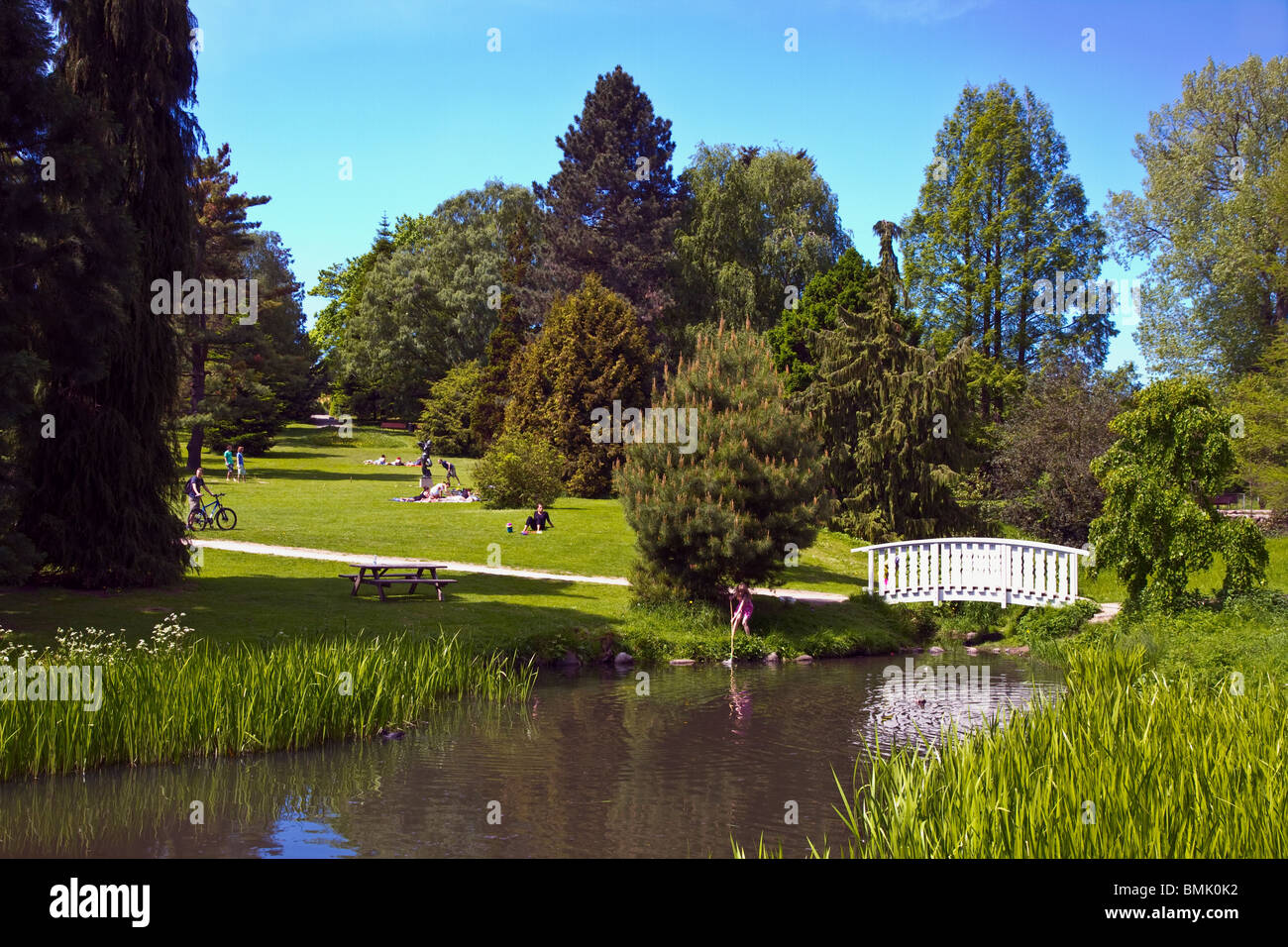 Children fishing near a small walkway in a lake in the Tourist attraction The Botanical Garden 'The Old Town' - Stock Image