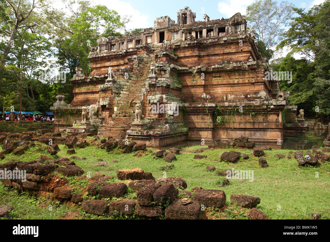 Ta Prohm temple in Angkor Cambodia deep in jungle - Stock Image