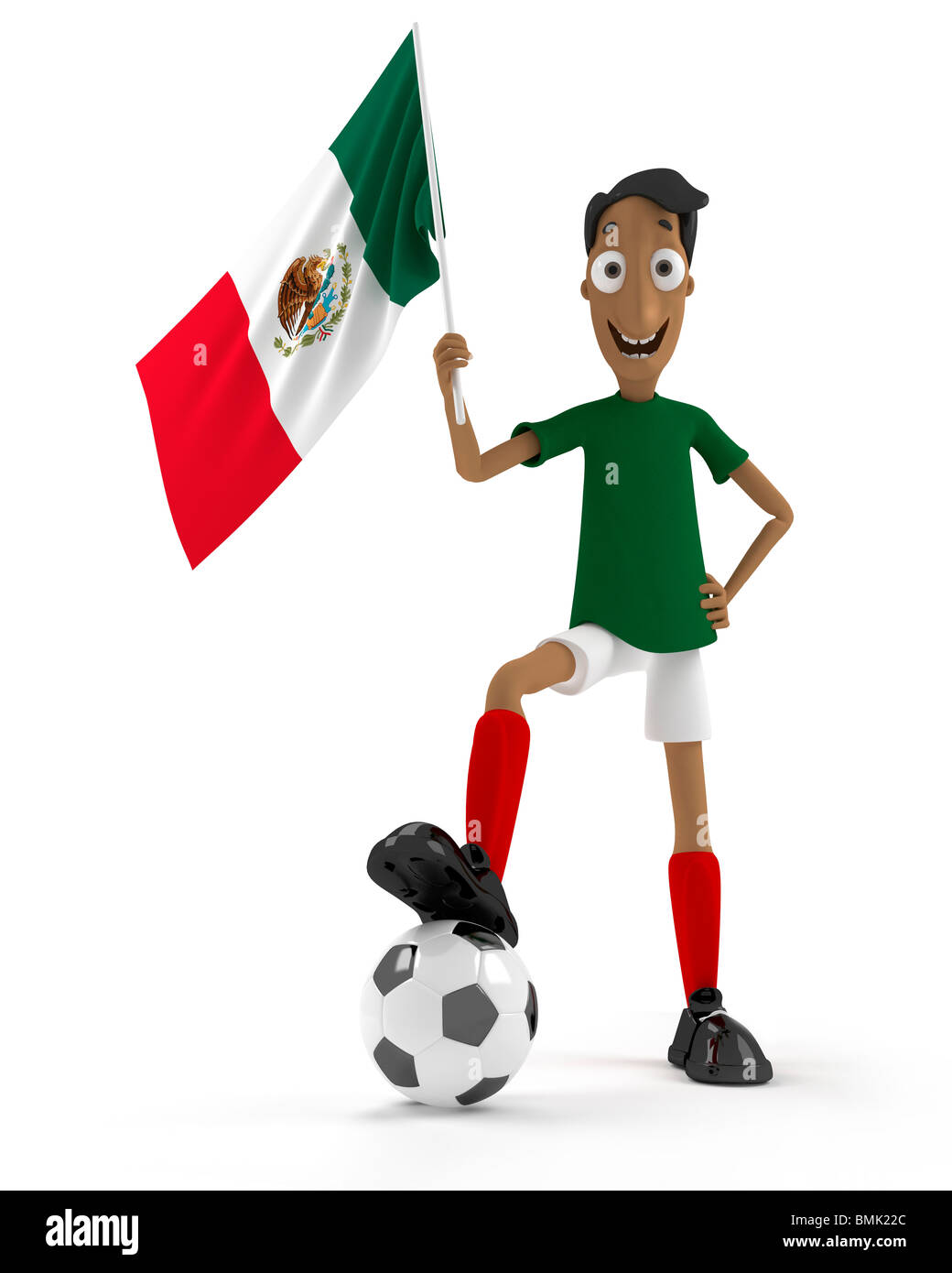 Smiling cartoon style soccer player with ball and Mexico flag - Stock Image