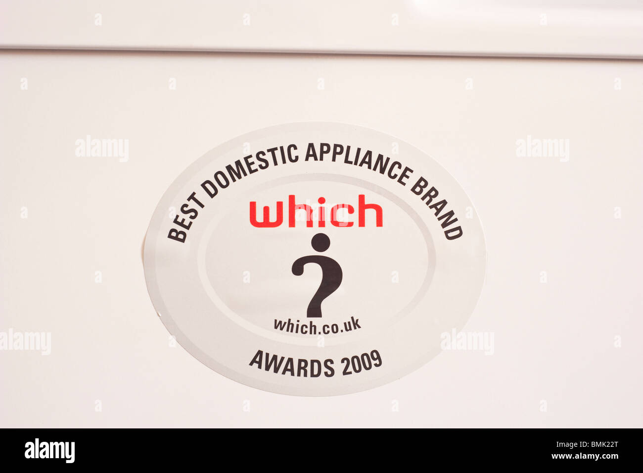 A WHICH awards sticker on a Bosch dishwasher awarded for best domestic appliance brand - Stock Image