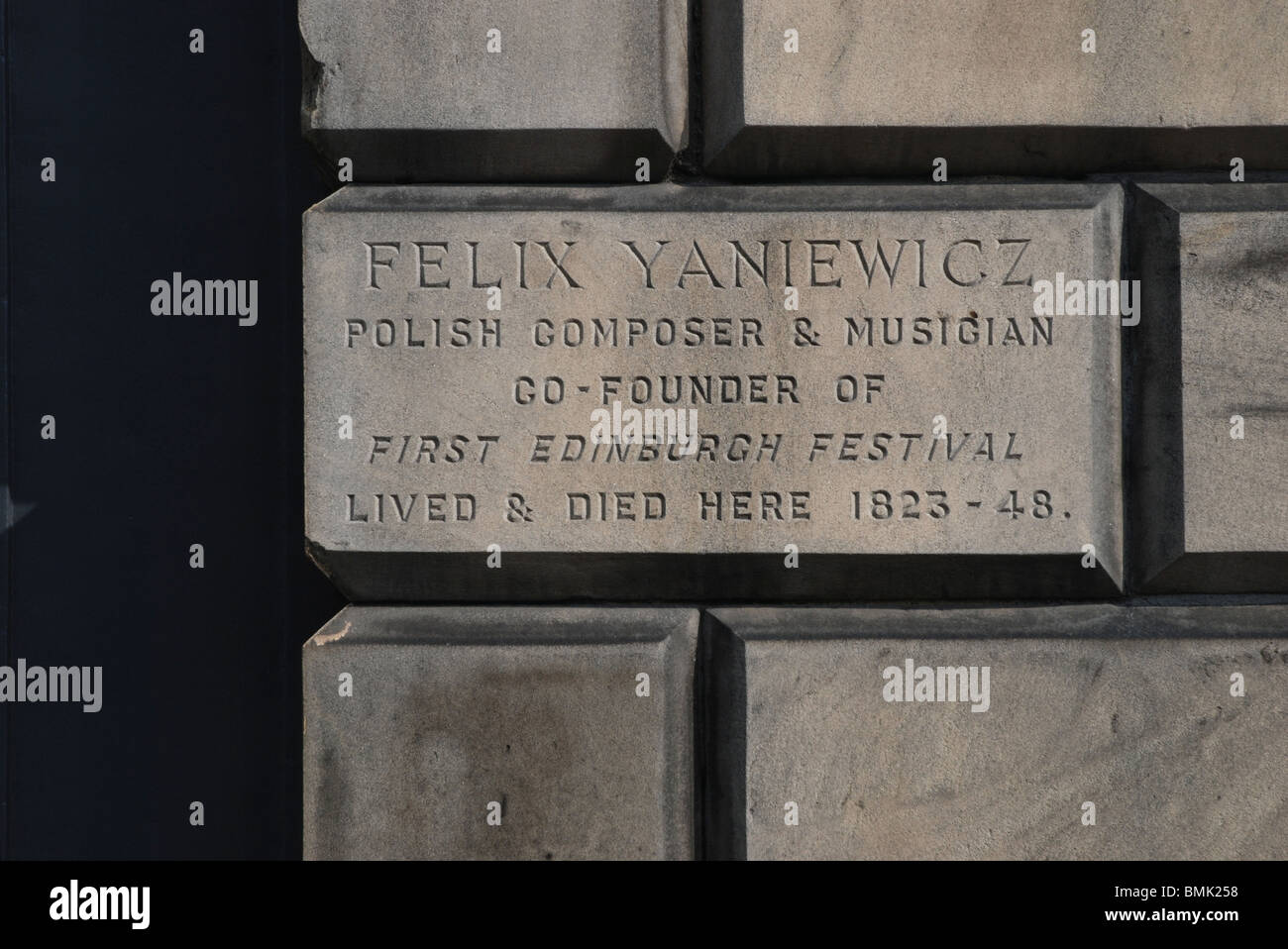 Inscription by the door of  84 Great King Street in Edinburgh where Felix Yaniewicz, Polish composer and musician - Stock Image