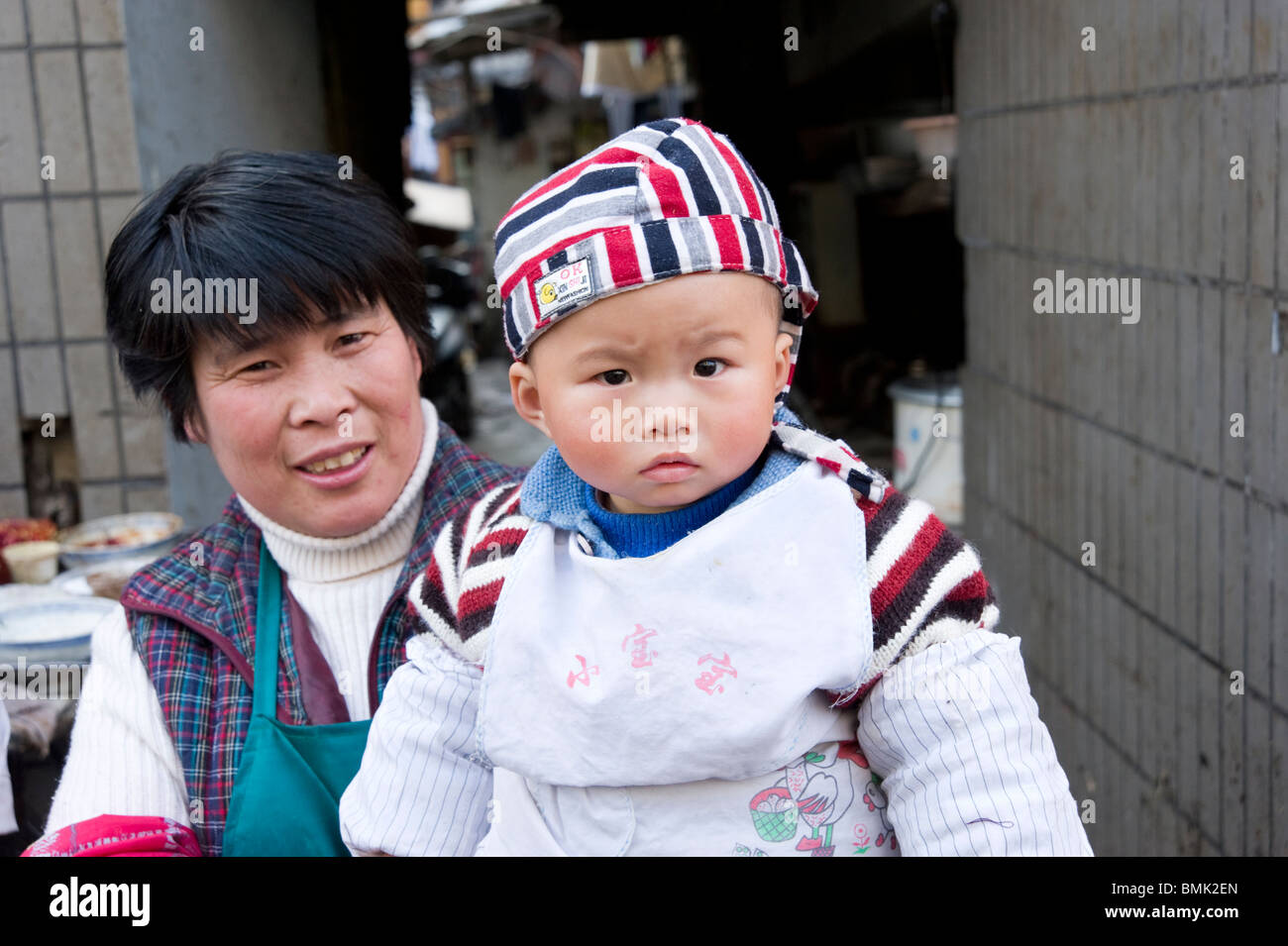 Cute baby in the Old City, Shanghai, China - Stock Image