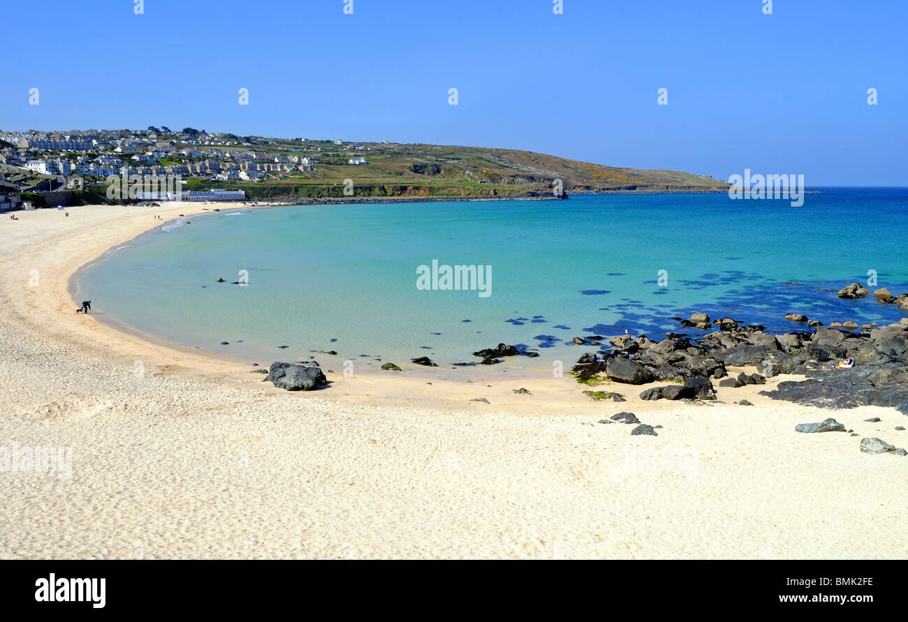 a peaceful scene at porthmeor beach in st.ives, cornwall, uk - Stock Image