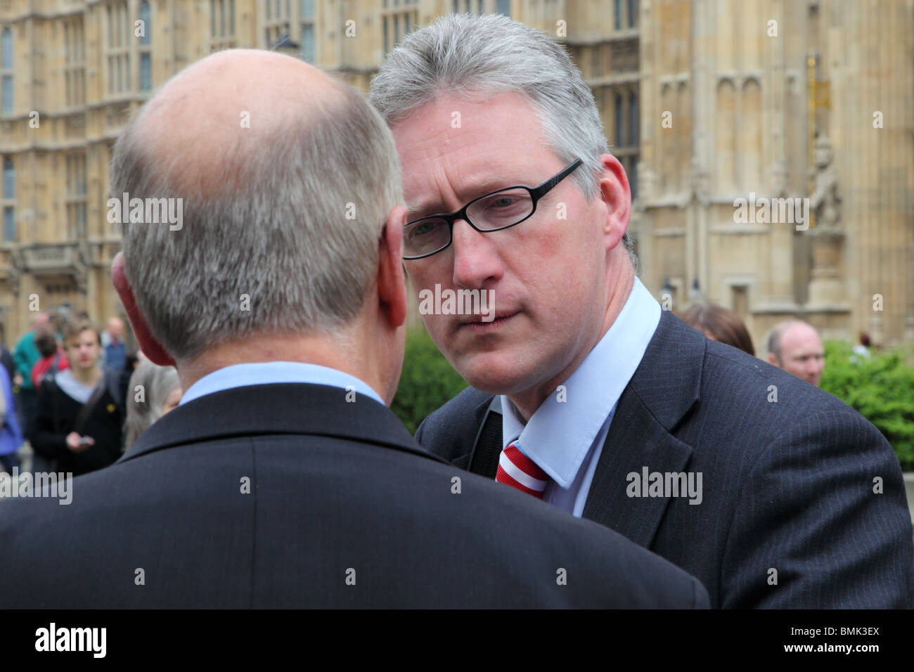 Ex-Liberal Democrat MP Lembit Opik on College Green, Westminster, London. - Stock Image