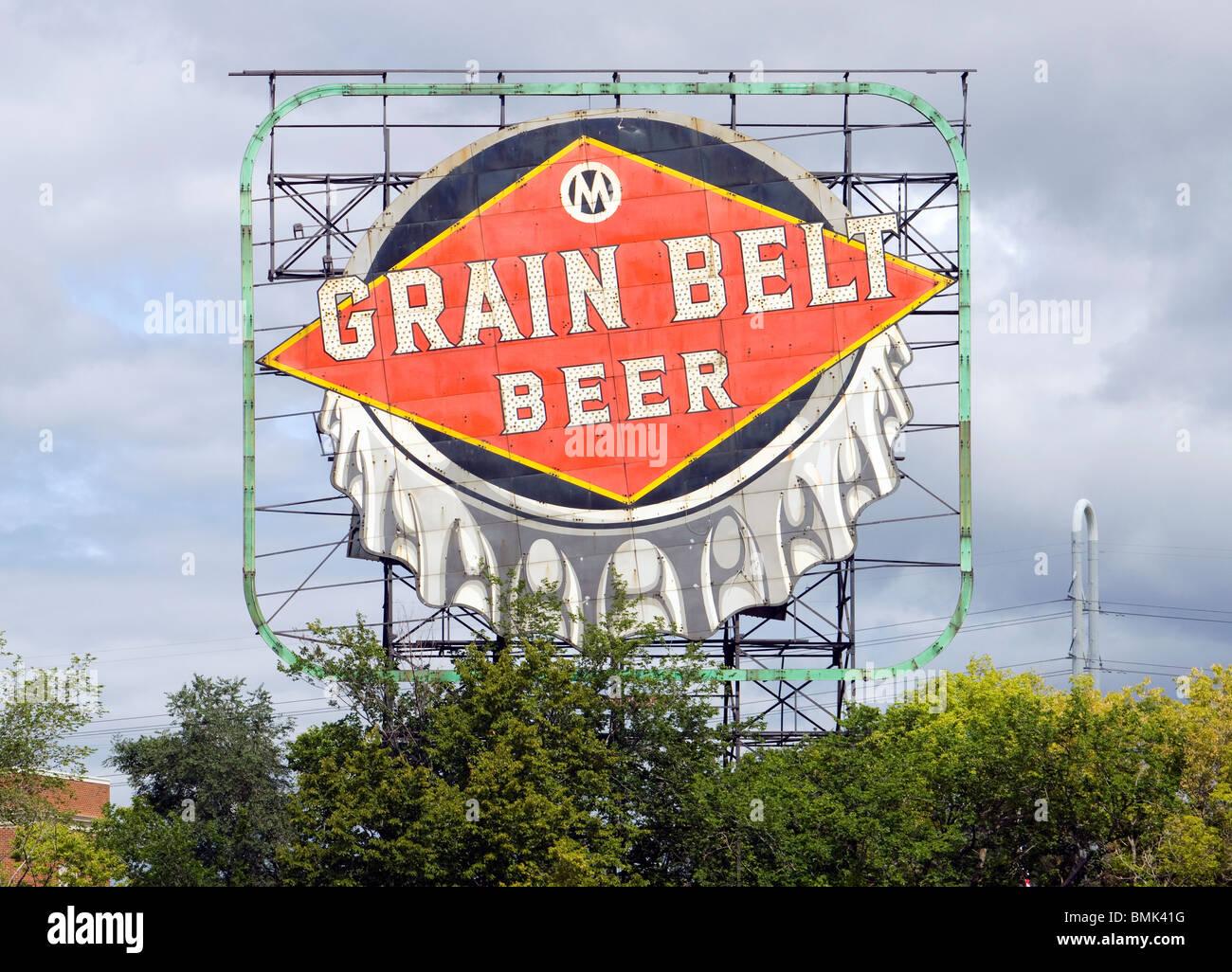 Grain Belt Beer Sign in Minneapolis Minnesota - Stock Image