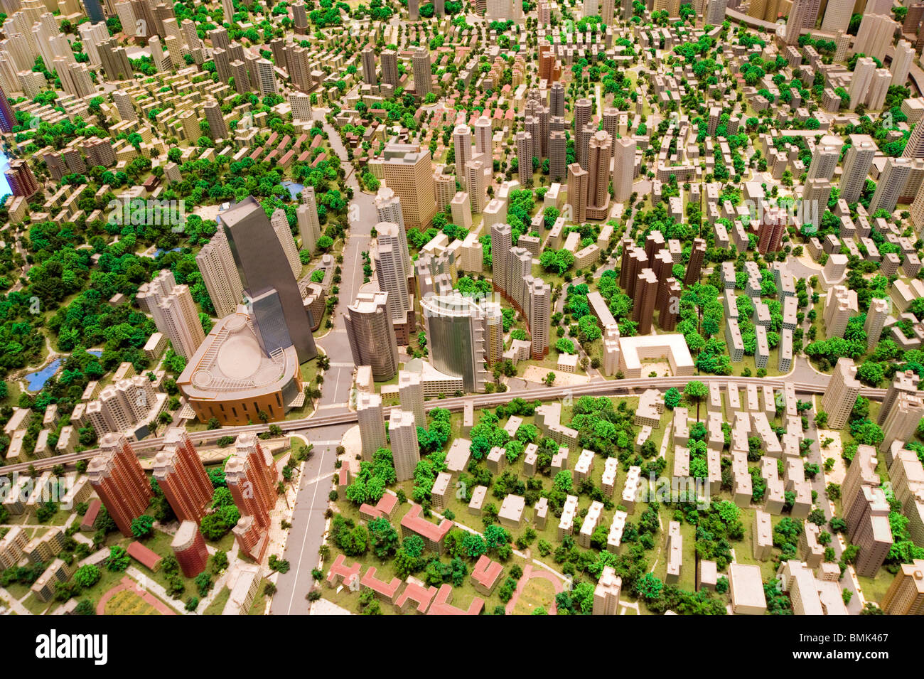 Scale model of the city in the Shanghai Urban Planning Museum, Shanghai, China - Stock Image