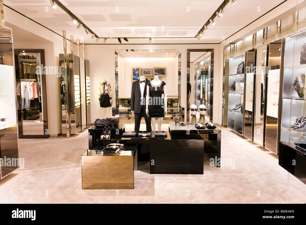Dolce and Gabana store in the Shanghai Times Square shopping mall on Huaihai Road, Shanghai, China Stock Photo