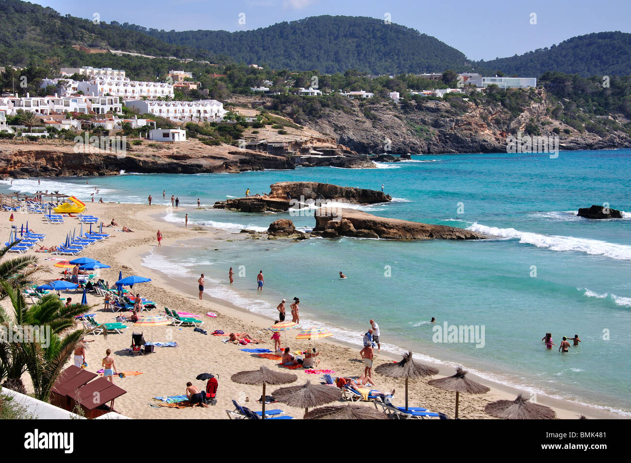 Beach view, Cala Tarida, Ibiza, Balearic Islands, Spain